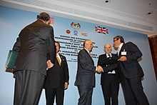 Najib meeting British Secretary of State for Business, Innovation and Skills Vince Cable in London, 13 July 2011