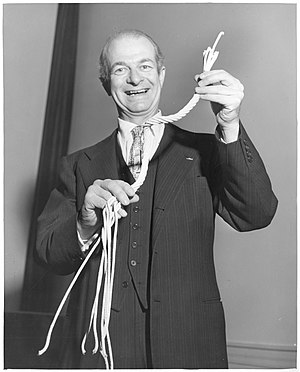 Linus Pauling with rope