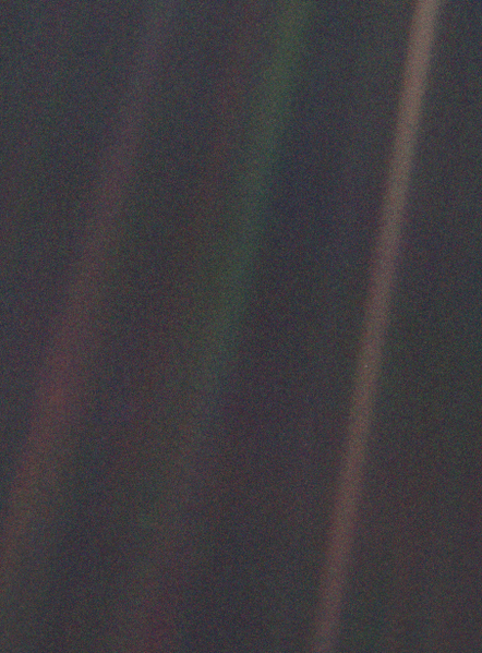 Voyager I photo of the Earth from outside Jupiter's orbit - the Pale Blue Dot photo