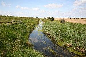 English: Soak Dike Looking west from Skeffling...