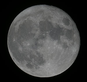Decreasing gibbous moon. Mosaic of 28 photos t...
