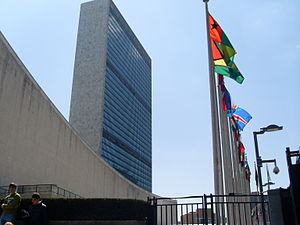 The UN headquarters in New York, viewed from t...