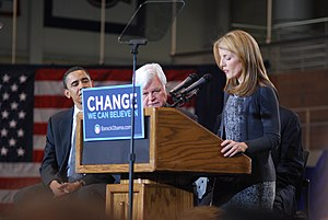 English: Caroline Kennedy, Ted Kennedy and Bar...