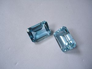 Blue topaz crystals from Brazil.
