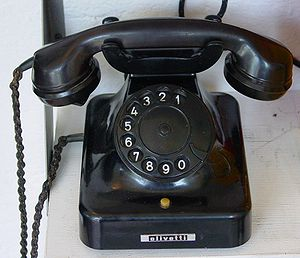 An Olivetti rotary dial telephone, c.1940s