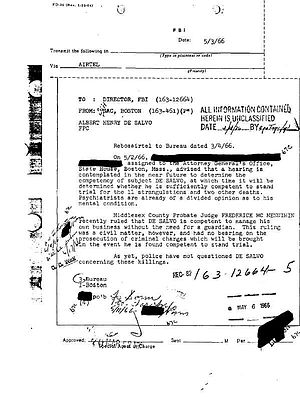 Criminal record DeSalvo raised by the FBI in B...