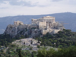Areopagus with the Acropolis of Athens in the ...