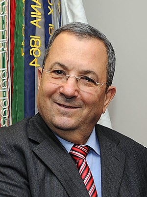 Israeli Minister of Defense Ehud Barak poses f...