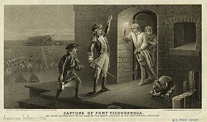 1875 engraving depicting the capture of Fort T...