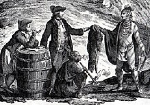 Illustration of fur traders trading with an Indigenous person
