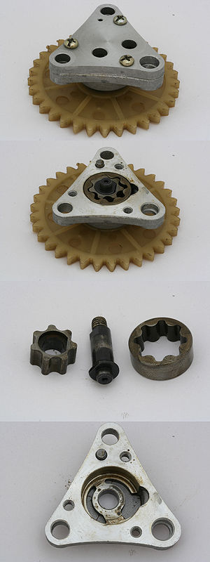 English: Oil pump (gear type) from 139QMB scoo...