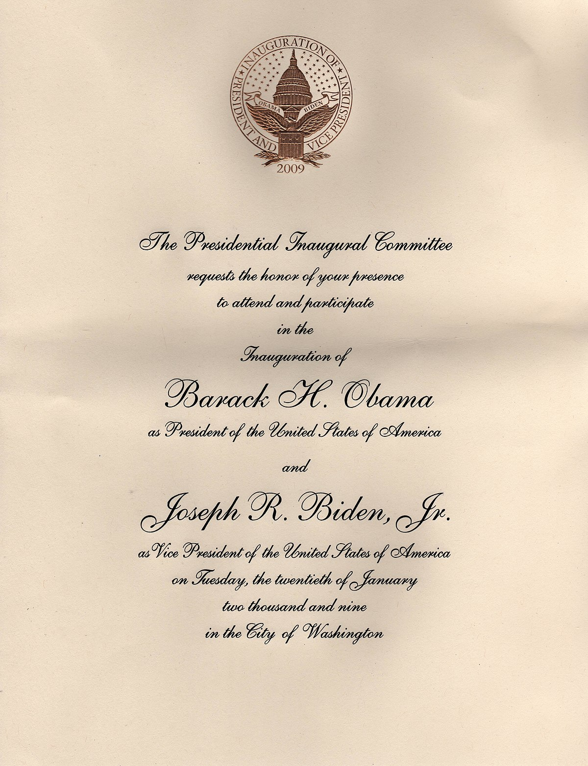 invitations to the first inauguration