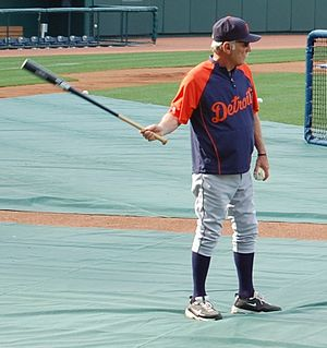 Jim Leyland hitting balls to Miguel Cabrera be...