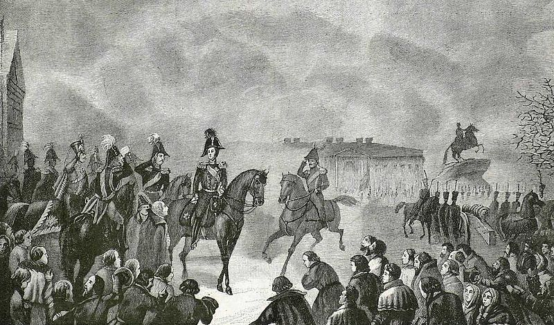 Emperor Nicholas I on the Senate Square December 14, 1825.