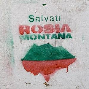 """English: Graffiti """"Salvaţi Roşia Montană&..."""
