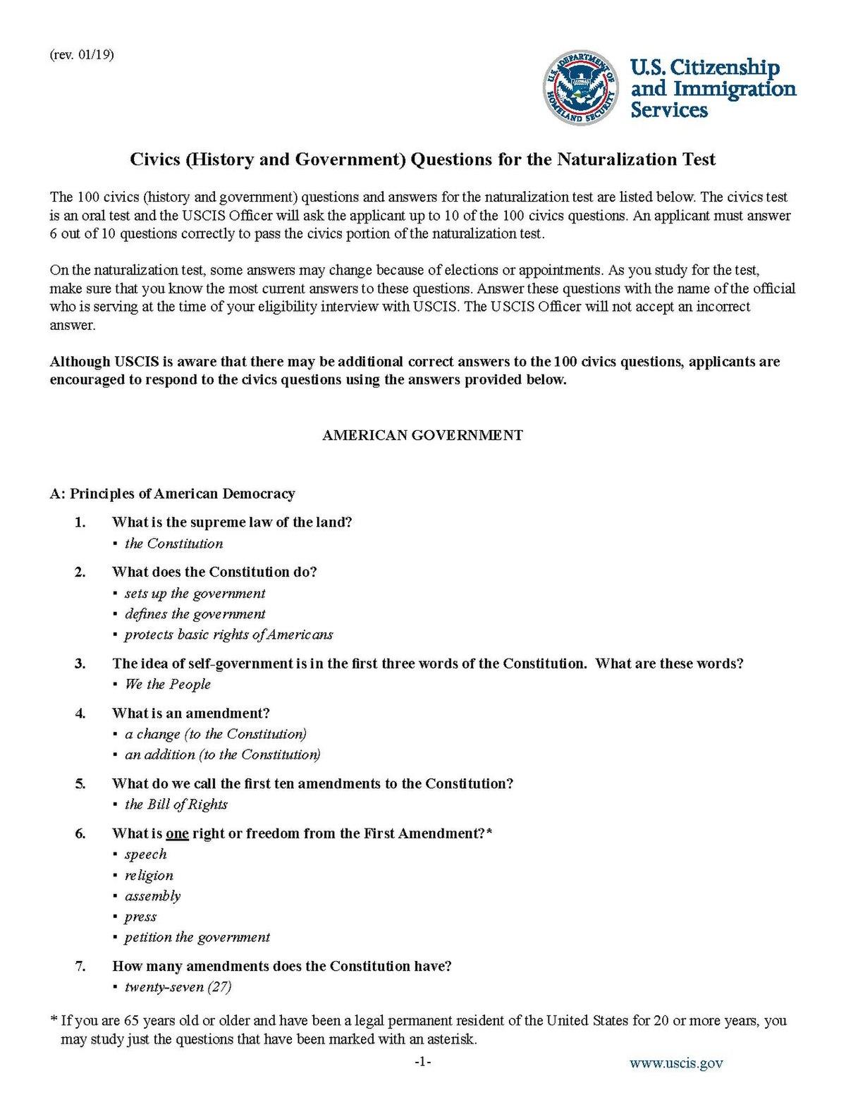 File Us Citizenship Test Questions