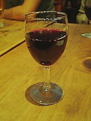 Glass of Beaujolais wine.