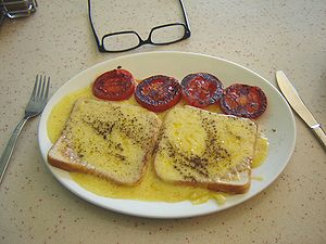 Cheese on toast as served in a cafe in Harlow,...