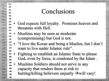 English: Slide 49/50 of The Koranic World View...