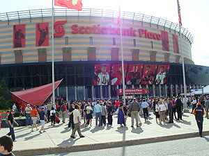 Front plaza of Scotiabank Place on Draft night.