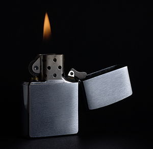 A Zippo. Indirect light (speedlight) from the ...