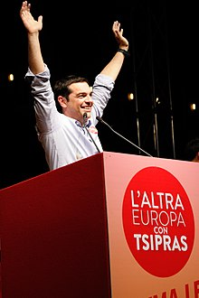 Tsipras in Bologna giving a speech for The Other Europe alliance.