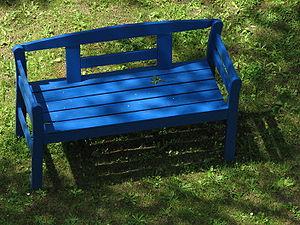 Blue wooden bench.