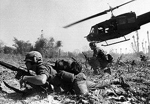 Major Crandall's UH-1D helicopter climbs skywa...
