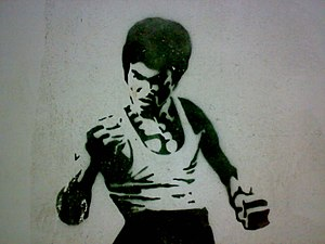 Bruce Lee wall painting. Tbilisi, Georgia
