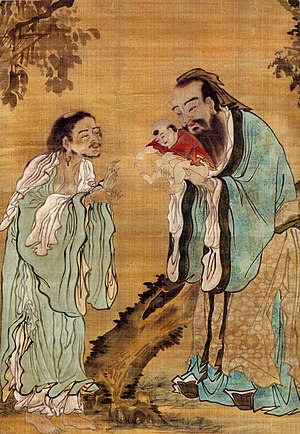 A painting of Confucius presenting a young Bud...