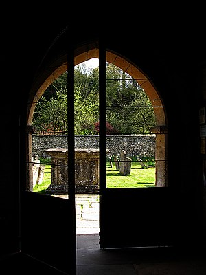 Do Come In. An open door to the Church at Bibury.