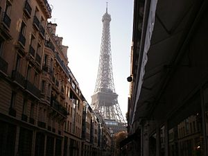 English: Eiffel Tower as seen from rue de Mont...