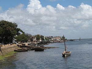 The seafront of Lamu town in Lamu Island, Kenya.