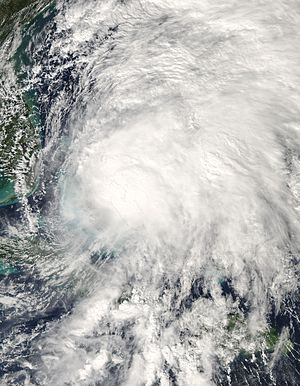 Tropical Storm Noel passing over the Bahamas