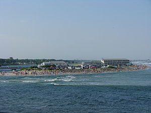 Ogunquit Beach at high tide, taken from the Ma...