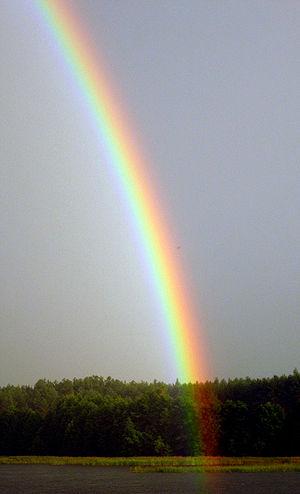 Rainbow above Kaviškis Lake, Lithuania
