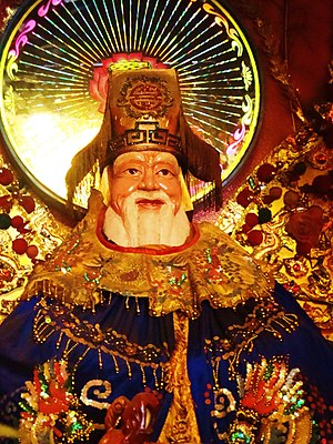 美國洛杉磯天后宮一土地公像。Statue of Tu Di Gong (Earth God)...