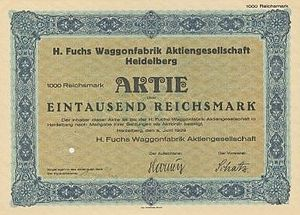 Share certificate of the German railway rollin...