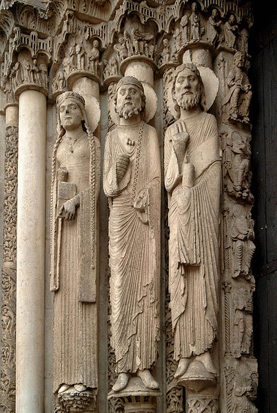 rzeźby środkowego Tympanonu katedry w Chartres