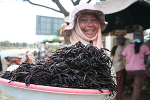 Fried spiders for sale at the market in Skuon,...