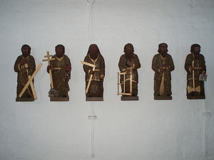 Six apostles, from the Jelling church, Denmark.