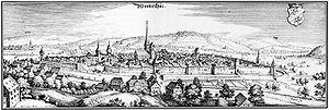 English: Winterthur, Switzerland, app. 1642 De...