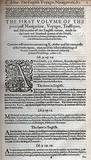 The first page of Richard Hakluyt's work The P...