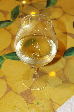 A glass of the French wine Sancerre made from ...