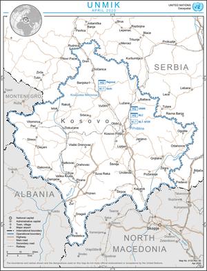 Map of Kosovo UNMIK Mission