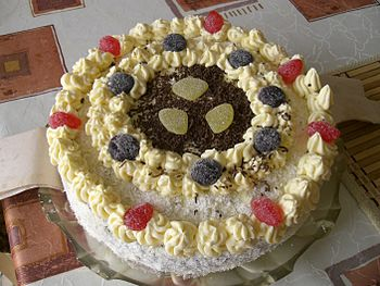 Home-made birthday cake from Czech Republic.