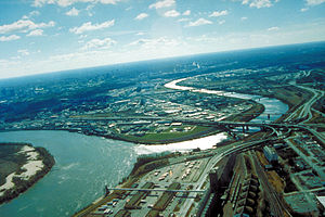 Aerial view of Kansas City, Kansas, looking so...