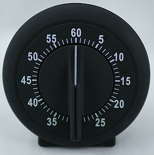 A mechanical kitchen timer