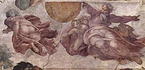 Fresco in the Sistine Chapel. The Creation of ...