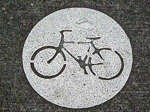 Bike stencil on Portland, Oregon's bike routes.